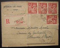 1945 Pessac (Gironde) Lettre Recommandée De La Justice De Paix, Relative à Un Accident Du Travail Pour Monsieur Mondon - 1921-1960: Periodo Moderno