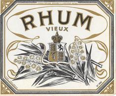 Etiquette RHUM VIEUX - Chromo-lithographie Bichromie Noir Et Or  - ARMOIRIES - BLASON - Imp PICHOT Paris Cognac N° 486 - Rhum