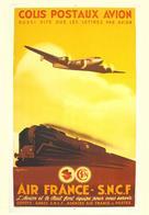 Air France - SNCF Colis Postaux Avion 1947 - Postcard Reproduction - Publicité