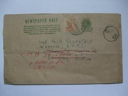 AUSTRALIA - George VI Newspaper Wrapper Hyde Park Sydney To India Uprated Rare - 1937-52 George VI