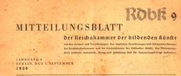 Mitteilungsblatt Der Reichskammer Der Bildenden Kuenste/Heft 9 / Zeitschrift/1939 - Books, Magazines, Comics