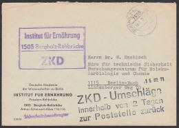 Ernährung ZKD-Brief KSt. Bergholz-Rehbrücke Institut Für Ernährung Mit Schwarzen Aufbewahrungsstempel,  N. Berlin-Buch - Servizio
