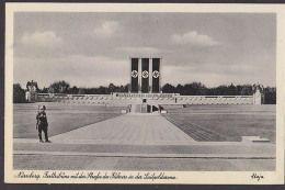 Nürnberg Luitpoldarena Fotokarte Mit Festtribüne Straße Des Führers Soldat 3 Fahnen, Flagge Mt Symbolen, Bfm Abgelöst - Nürnberg
