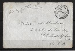 1918 POSTES MILITAIRES → Lettre à Philadelphia USA   ►RRR◄ - Weltkrieg 1914-18