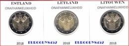 ESTLAND + LETLAND + LITOUWEN - 3 X 2 € COM 2018 UNC - ONAFHANKELIJKHEID - Litouwen