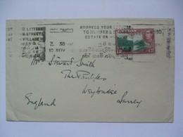 CEYLON George VI Cover Colombo To Surrey England - Address Your Letter Slogan Cancel - Ceylon (...-1947)