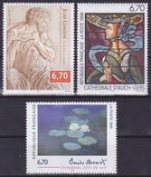 Série Artistique De 3 T.-P. Gommés - Jean Goujon Claude Monet Arnaud De Moles - N° 3222-3247-3254 (Yvert) - France 1999 - France