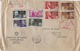 1941 KONGO BRAZZAVILLE → Registered 226 Letter Consulat De Suisse To ACCRA ►RRR◄ - Congo - Brazzaville