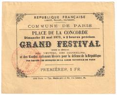 """Commune De Paris : Concert Place De La Concorde, 21 Mai 1871 (1er Jour De La """"Semaine Sanglante"""") - Documents"""