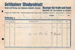 B2444 - Rechnung - Geithain - Geithainer  Wochenblatt 1936 - Verlag Johannes Schmidt - 1900 – 1949