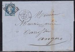 Paris, Yvert N° 14, Piquage Susse Du Bureau J Sur LAC Du 9 Janvier 1862 - 1849-1876: Période Classique