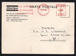 FRANCE - FRANCONVILLE / 1966 EMA SUR CARTE COMMERCIALE (ref LE2157) - Marcophilie (Lettres)