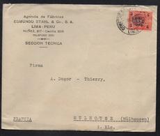 PEROU - PERU - LIMA / 1931 TIMBRE SURCHARGE 15/10 C. LETTRE POUR LA FRANCE - MULHOUSE (ref LE2158) - Perú