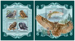 MOZAMBIQUE 2018 - Owls. M/S + S/S. Official Issue - Uilen