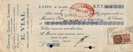 Lettre De Change - Comptoir Général Lyonnais Pour Pièces Détachées Pour L'automobile, E.VIAL 1929 - Cambiali