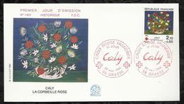 CROIX ROUGE FRANCAISE . CALY . LA CORBEILLE DE ROSES . 24 NOVEMBRE 1984 . GRASSE . - FDC