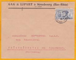 1934 - Envel. Commerc. Strasbourg Pl. De La Gare Vers Friedrichstal, Allemagne, YT 297 Jacques Cartier Seul C:11,50 € - Marcophilie (Lettres)