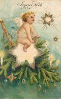 CP ILLUSTREE JOYEUX NOEL ANGE A CALIFOURCHON SUR ETOILE BRANCHE SAPIN BOUGIES - Noël