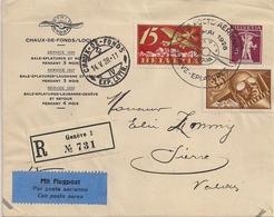 Poste Aérienne La Chaux-de-Fonds - Sierre - 1928 - Timbres