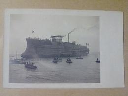 44 SAINT NAZAIRE CARTE PHOTO   LE 19 AVRIL 1905  APRES LE  LANCEMENT  DU CUIRASSE LIBERTE  LA PECHE  AU  SUIF - Saint Nazaire
