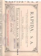ACCION ANTIGUA - ACTION ANTIQUE =   RAPIDA SA 1920 - Acciones & Títulos