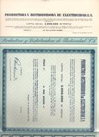ACCION ANTIGUA - ACTION ANTIQUE =  PRODUCTORA Y DISTRIBUIDORA DE ELECTRICIDAD 1945 - Acciones & Títulos