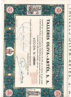 ACCION ANTIGUA - ACTION ANTIQUE =  TALLERES OLIVA ARTES SA 1940 - Acciones & Títulos