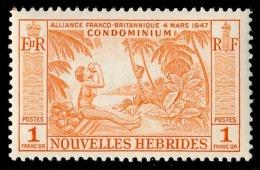 NOUVELLES HEBRIDES 1957 - Yv. 183 **   Cote= 10,20 EUR - Noix De Coco 1f  ..Réf.AFA22986 - Französische Legende