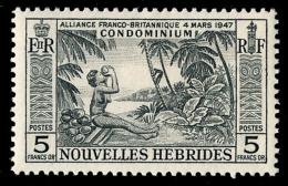 NOUVELLES HEBRIDES 1957 - Yv. 185 *   Cote= 24,00 EUR - Noix De Coco 5f  ..Réf.AFA22988 - Französische Legende