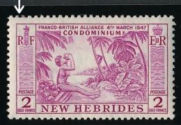 NOUVELLES HEBRIDES 1957 - Yv. 195 * Variété  Cote= 14,00 EUR - Noix De Coco 2f ; NEW HEBRIDES  ..Réf.AFA22991 - Englische Legende