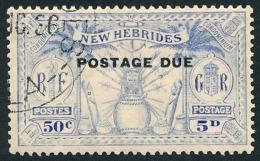 NOUVELLES HEBRIDES 1925 - Yv. Taxe 9 Obl.   Cote= 6,50 EUR - Idole Indigène 50c - 5p ; POSTAGE DUE  ..Réf.AFA23077 - Impuestos