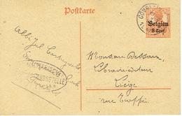 EP Germania De FERRIERES Via COMBLAIN-LA-TOUR 1917 > LIEGE-censure De LÜTTICH-signé Abbé Jul. CARTUYVELS  Sém. St RocH - WW I