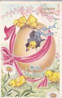 JOYEUSES PÄQUES--(  Poussins + Ruban + Oeuf + Fleurs )--voir 2 Scans - Easter