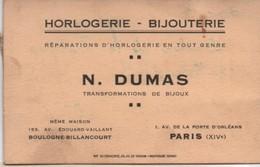 Carte Commerciale/ Horlogerie Bijouterie/N DUMAS/ Transformations De Bijoux/BOULOGNE-BILLANCOURT/  1935           CAC114 - Visiting Cards