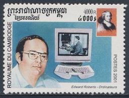 Cambodia Kampuchea Kambodscha 2001 Mi 2152 ** Edward Roberts (*1941() Invention Personel Computer / Computerpionier - Computers