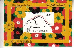 1996 Norfolk Island Year Of The Rat  Souvenir Sheet Complete MNH - Ile Norfolk