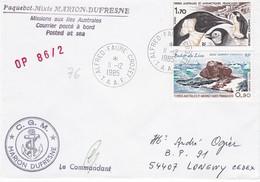 TAAF 173 - YT N° 109 Et PA N° 57  - Marion Dufresne Posté à Bord  OP 86/2 - Alfred Faure 11 Décembre 1985 - Französische Süd- Und Antarktisgebiete (TAAF)