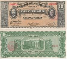"""MEXICO   10 Pesos  """"El Estado De Chihuahua""""  PS534   1915   UNC. - Mexico"""
