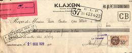 Lettre De Change - Courbevoie - Société Klaxon, 1929 - Bills Of Exchange