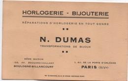 Carte Commerciale/Horlogerie- Bijouterie/N DUMAS/ Transformation De Bijoux /BOULOGNE-BILLANCOURT/ /Paris /1935    CAC116 - Cartes De Visite