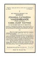 D 44.JOHANNA-C. VANDENBRANDE - ° LEMBEEK (Prov. Brabant) 1851  / + BOCHOLT 1936 - Devotion Images