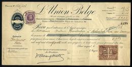 E03 - Belgium - OBP 197 - Payment Receipt L'Union Belge Assurances - Tienen / Tirlemon - 1925 - 1922-1927 Houyoux