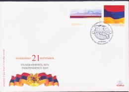 ARMENIA INDEPENDENCE FLAG COAT ARARAT 2010 FDC - Armenia