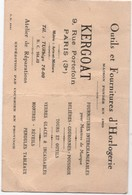 Carte Commerciale/KERGOAT/ Outils Et Fournitures D'Horlogerie / Rue Portefoin/PARIS / Vers 1930   CAC118 - Cartes De Visite