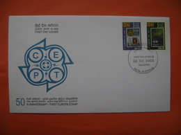 SRI LANKA (CEYLON)   SC # 1539-40  FIRST EUROPA STAMPS 50TH ANNIVERSARY 2006 FDC - Sri Lanka (Ceylon) (1948-...)