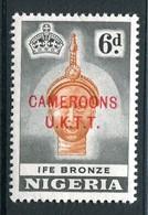 Cameroon - Nigeria Pictorials Overprints - 6d Ife Bronze - P.13x13½ - LHM (SG T7a) - Cameroon (1960-...)