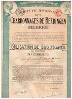 Obligation Ancienne - Sté Des Charbonnages De Beeringen  Belgique - Titre De 1920 - N° 08577 - Mines