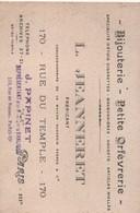 Carte Commerciale/ L JEANNERET /Fabricant/ Bijouterie- Petite Orfévrerie/ Rue Du Temple/ /PARIS / Vers 1930   CAC120 - Cartes De Visite