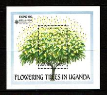 Uganda 1990 Sc #  Bf 766  MNH **  Trees - Arbres - Trees