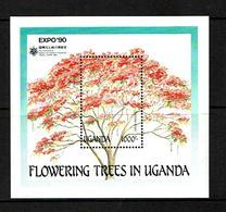 Uganda 1990 Sc #  Bf 765  MNH **  Trees - Arbres - Trees